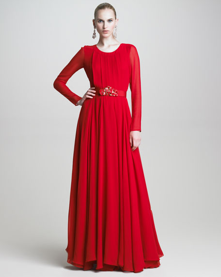 Pleated Long-Sleeve Chiffon Gown