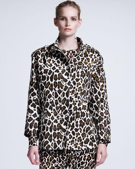 Leopard-Print Linen Cocoon Coat