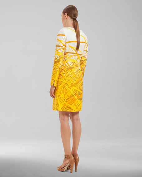 Reed-Print Double-Face Coat, Pollen