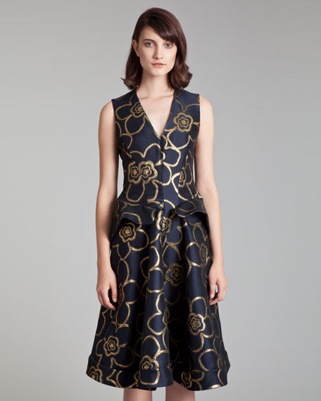 Metallic Jacquard Peplum Dress