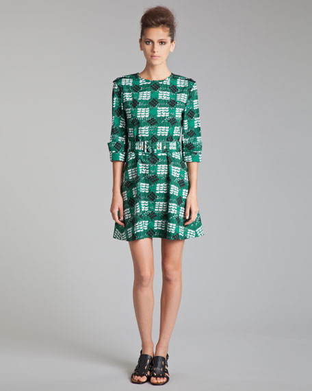 Trench-Detail Printed Poplin Dress