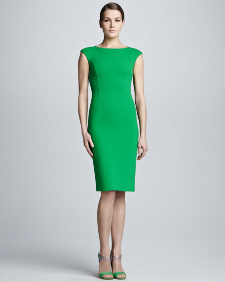 Crepe Cap-Sleeve Sheath Dress