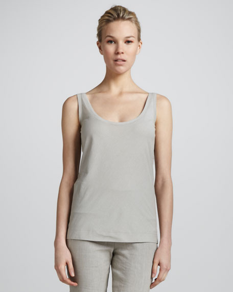 Suede Net Tank Top, Oyster