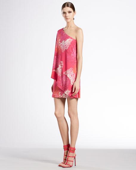 Dahlia Print One-Shoulder Dress