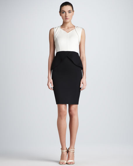 Two-Tone Double-Face Sheath Dress, Ivory/Black