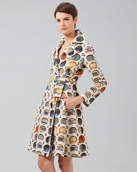 Facade-Print Cotton Trench Coat