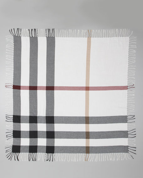 Check Cotton Scarf, Ivory