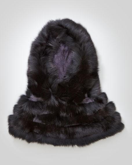 Hooded Fox-Trim Cape