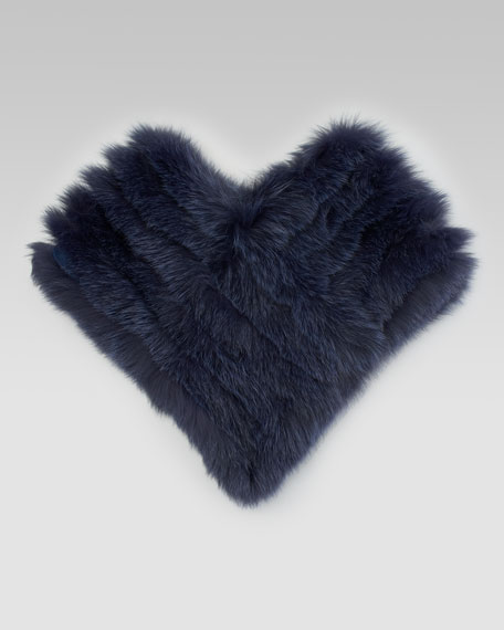 Fox Fur Capelet, Navy