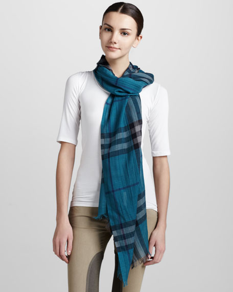 Giant Check Gauze Scarf, Turquoise