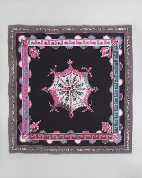 Bouquet Printed Silk Twill Scarf