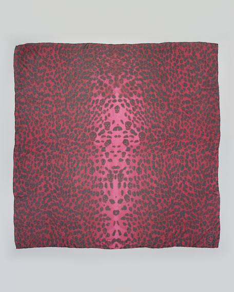 Leopard-Print & Skull Scarf, Bordeaux/Black