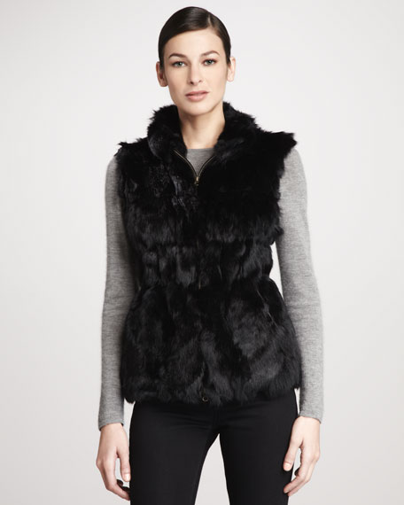 Candy Knit-Back Zip-Front Rabbit Fur Vest, Black