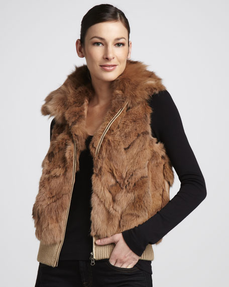 Fox-Collared Rabbit Fur Vest