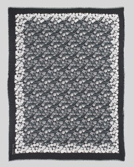 Floral-Print Scarf, Black