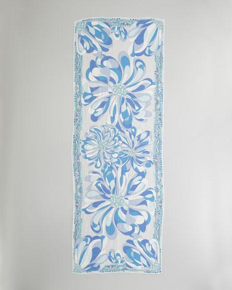 Azalea-Print Stole, Turquoise