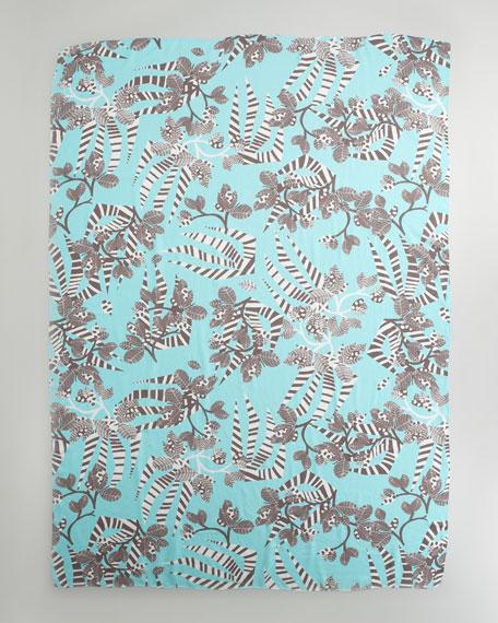 Zebra-Print Scarf, Aqua