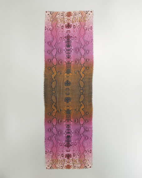 Ombre Python Scarf, Tobacco/Orchid/Blush
