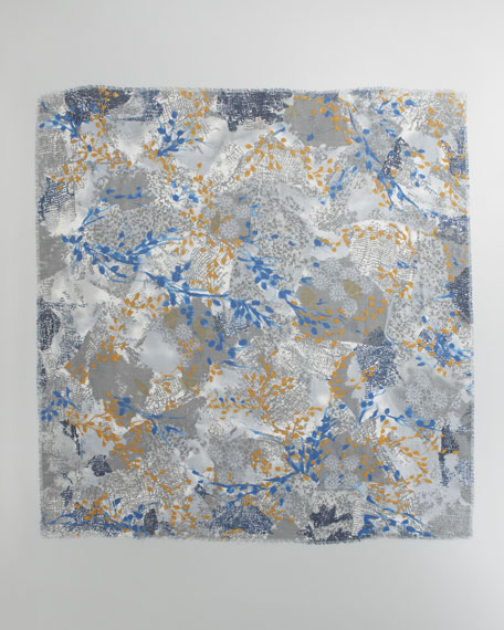 Scialle le Ginestre Floral Scarf, Blue/Bronze
