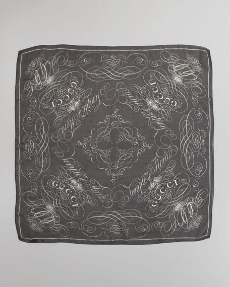 Belize Logo Scarf, Black/Ivory