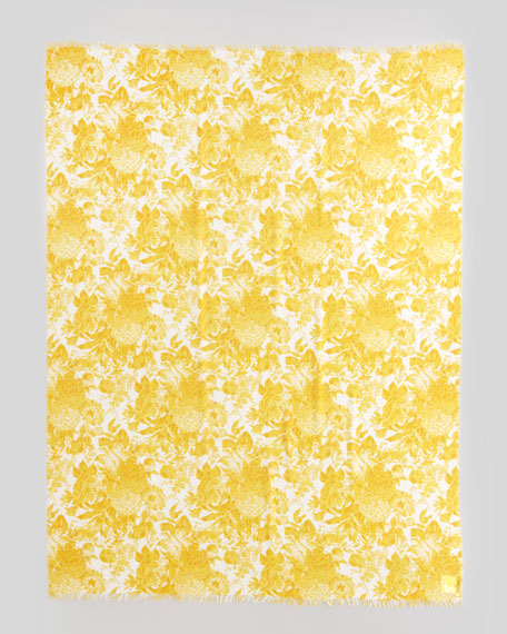 Floral-Print Scarf, Citrus