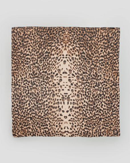 Leopard Skull Chiffon Scarf, Old Rose/Black