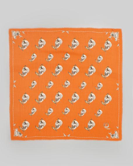 Bird & Apple Skull Scarf, Orange