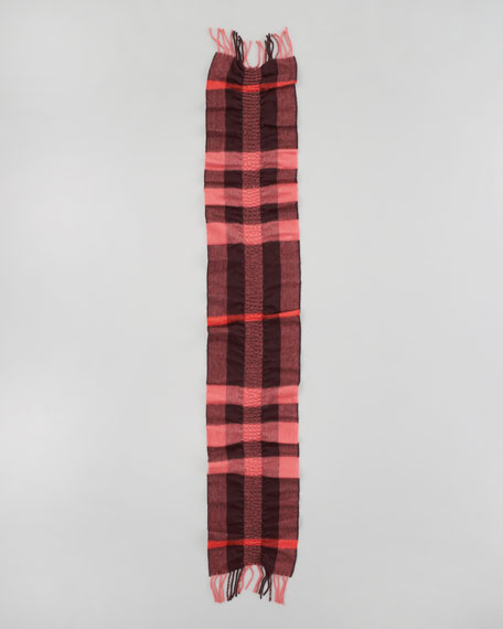 Ruched-Check Cashmere Scarf, Coral