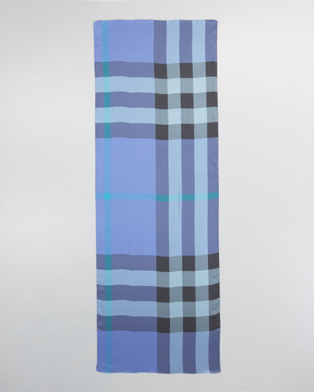 Mega Check Satin Scarf, Iris Blue