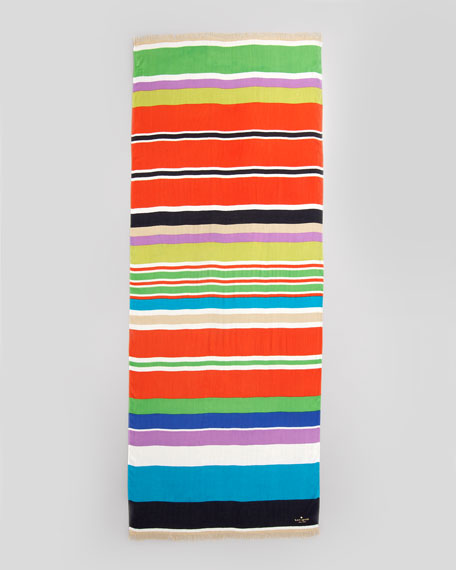 picnic striped silk scarf, multicolor