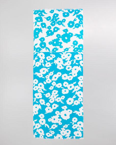 picnic floral scarf, aqua/cream