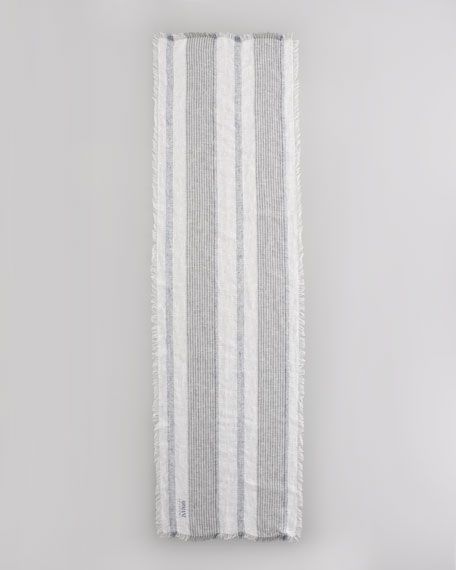 Metallic-Striped Linen Blend Scarf, White/Navy
