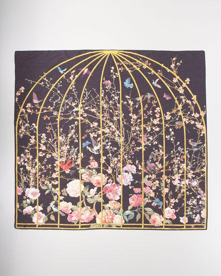 Bird Cage Printed Scarf, Black/Pink
