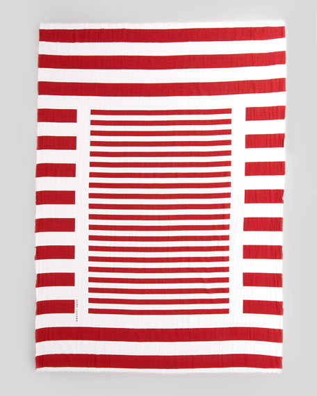 Striped Cotton Scarf, Red/White