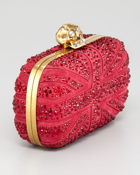 Crystal Britannia Box Clutch Bag, Dark Cherry