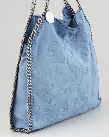 Damask-Embossed Baby Falabella Tote Bag