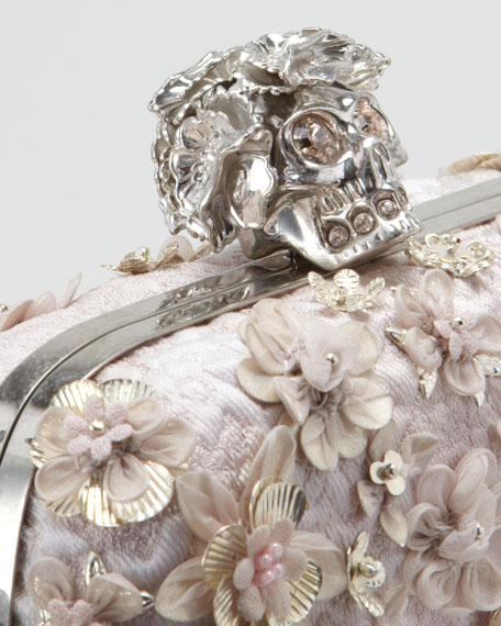 Floral-Embellished Skull-Clasp Clutch Bag