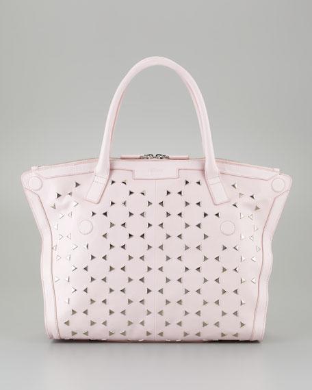 De-Manta Mini Triangle-Studded Tote Bag, Pink