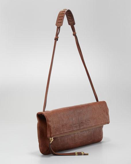 Chrystie Croc-Embossed Flap Clutch Bag, Luggage
