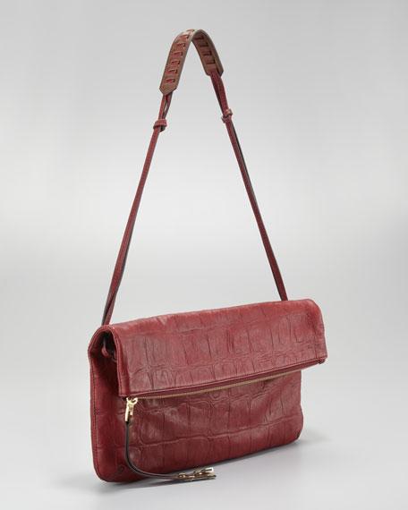 Chrystie Croc-Embossed Flap Clutch Bag, Burgundy