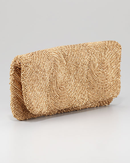 Beaded Fold-Over Clutch Bag, Golden