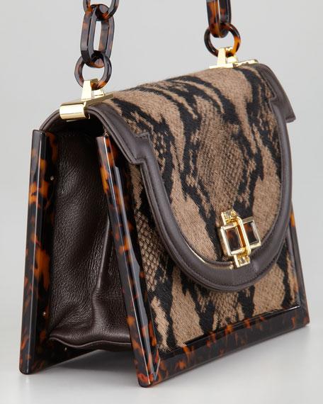 Snake-Printed Calf Hair Small Shoulder Bag