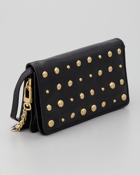 Jordie Studded Flap-Top Clutch Bag