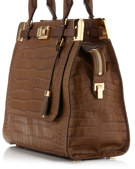 Blake North-South Crocodile-Embossed Satchel Bag