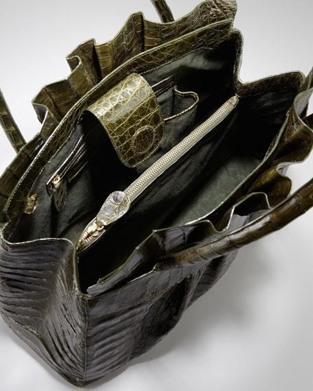 Ruffled Crocodile Medium Tote Bag, Olive