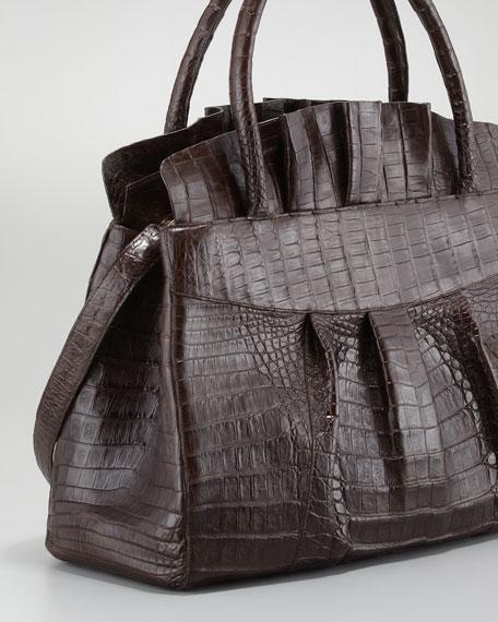 Ruffled Crocodile Medium Tote Bag, Chocolate