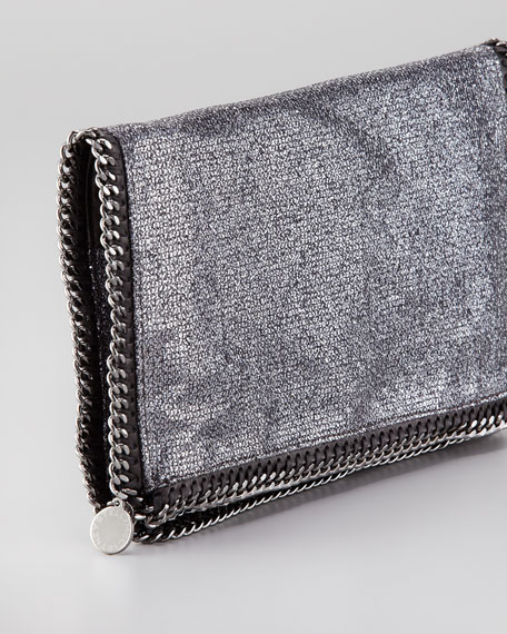 Falabella Fold-Over Clutch Bag, Pewter
