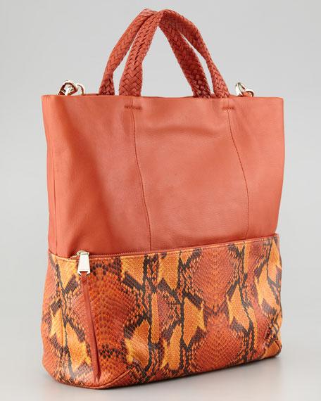 Jordie Snake-Print Crossbody Tote Bag, Orange