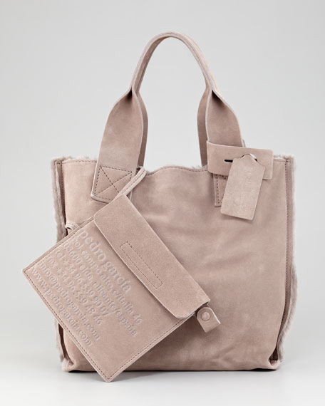 Small Shearling Shopper Tote Bag, Tan