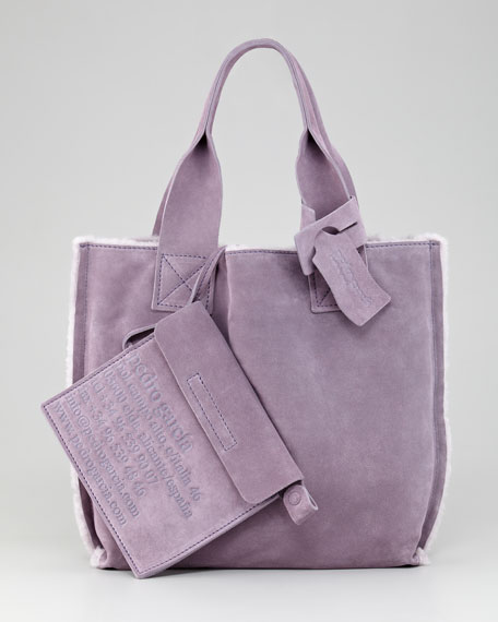Small Shearling Shopper Tote Bag, Lavender
